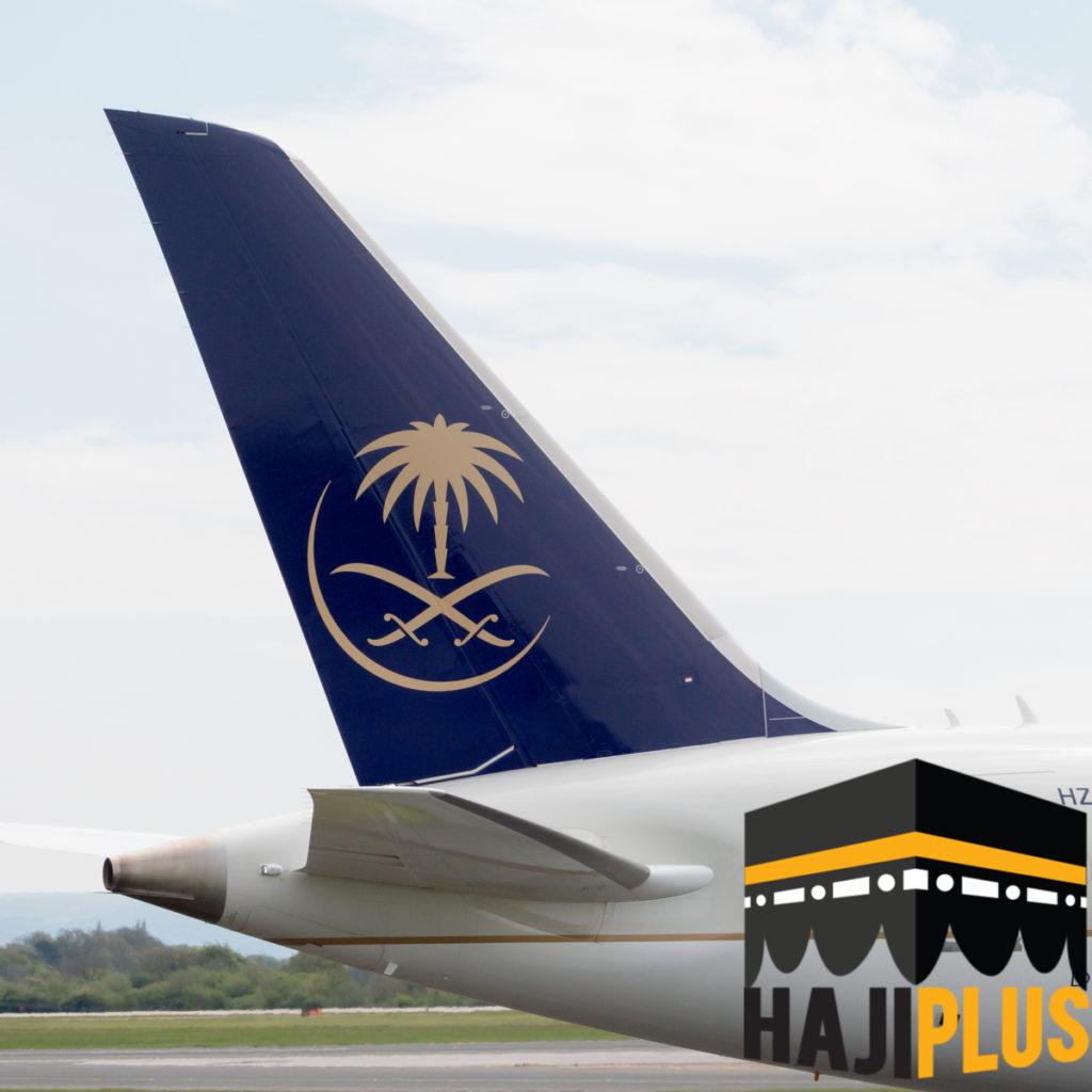 Fasilitas yang kedua pastinya sahabat haji plus akan mendapatkan tiket pesawat pulang pergi Saudi Airlines ( ekonomi )